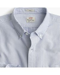 J.Crew - Untucked American Pima Cotton Striped Oxford Shirt With Mechanical Stretch - Lyst
