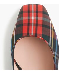 J.Crew - Ankle-strap Block Heel Court Shoes In Stewart Black Tartan - Lyst