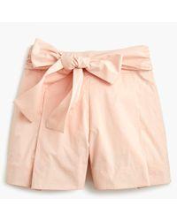 J.Crew - Tie-waist Short In Cotton Poplin - Lyst