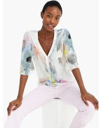 J.Crew - Tall V-neck Top In Watercolor Silk - Lyst