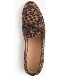 ae0f58768a1 Lyst - J.Crew Academy Genuine Calf Hair Penny Loafer in Brown