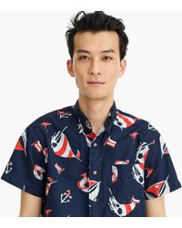 J.Crew - Always Short-sleeve Vintage Twill Shirt In Navy Nautical Print - Lyst