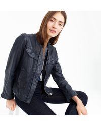 J.Crew - Collarless Washed Leather Jacket - Lyst
