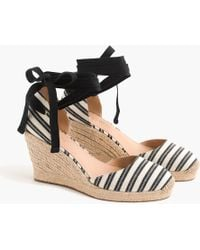 J.Crew - Espadrille Wedges (83mm) With Ankle Wrap In Stripe - Lyst