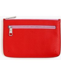 J.Crew - Contrast Zip Pouch In Pebbled Leather - Lyst