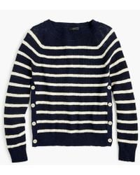 J.Crew - Striped Crewneck Sweater With Side Buttons - Lyst