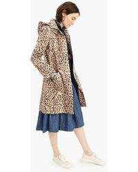 J.Crew - Leopard-print Trench Coat With Removable Hood - Lyst