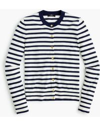 J.Crew - Striped Cotton Jackie Cardigan Jumper - Lyst