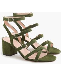 J.Crew - Buckled Midheel Sandals In Suede - Lyst