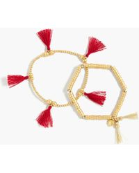 J.Crew - Bead And Tassel Bracelet Set - Lyst