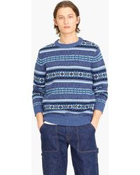 J.Crew - Wallace & Barnes Crewneck Jumper In Blue Fair Isle - Lyst
