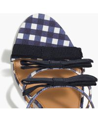 cc2b006e9ca8d J.Crew - Gingham Canvas Heel Sandals With Bows - Lyst