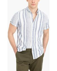 J.Crew - Striped Slim Casual Short Sleeve Linen Shirt - Lyst