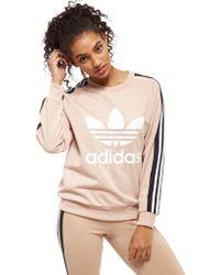 adidas Originals - 3-stripe Panel Crew Sweatshirt - Lyst
