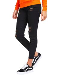SIKSILK - Rip High Waisted Skinny Jean - Lyst
