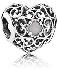 PANDORA - 791784msg Sterling June Signature Heart Charm - Lyst