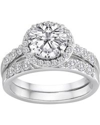 Swarovski - Pure Perfection Certified Bridal Ring With Brilliant Halo Center Stone Made With Zirconia - Lyst