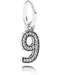 PANDORA - Number Nine Dangle In 925 Sterling Silver W/cubic Zirconia - Lyst