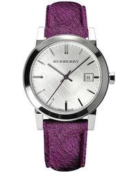 Burberry - Bu9122 'the City' Purple Leather Watch - Lyst
