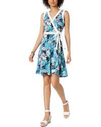 45d07078 Tommy Hilfiger - Polished Floral Print Sleeveless Wrap Dress - Lyst