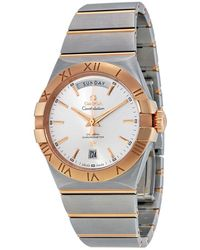 Omega - Constellation Chronometer Silver Dial Red-gold And Steel Watch 12320382202001 - Lyst