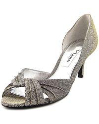 Nina - Carrie Silver Peep Toe Heels - Lyst