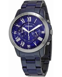 Fossil | Grant Chronograph Blue Dial Watch Fs5230 | Lyst