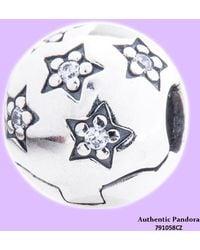 PANDORA - 791058cz Sterling Silver Twinkle Twinkle Star Clip Charm - Lyst