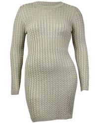 Calvin Klein - Crew Neck Cable Knit Sweater Dress - Lyst