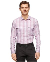Calvin Klein - Mens Slub Ombre Plaid Button Up Shirt Phlox S - Lyst