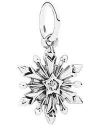 PANDORA - Disney Frozen Snowflake With Clear Cubic Zirconia Dangle Charm 791564cz - Lyst