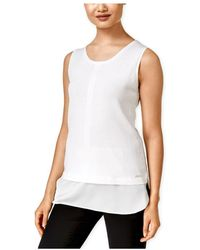 caed83073 Calvin Klein Sleeveless Top W  Lace Bottom in White - Lyst