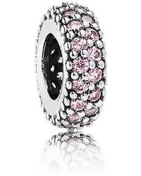PANDORA - Pink Pave Inspiration Spacer Charm In 925 Sterling Silver W/pink Cubi... - Lyst