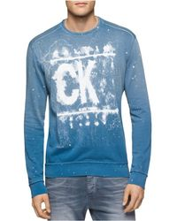 Calvin Klein - Spray Paint Graphic T-shirt Blue 2xl - Lyst