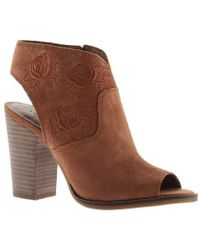 3d008252e15 Lyst - Lucky Brand Bray Peep Toe Block Heel Shooties in Natural