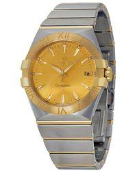 Omega - Constellation Champagne Dial Stainless Steel And Yellow Gold Ladies Watch 12320356008001 - Lyst