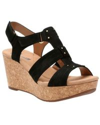 cfeaf3b8c7e6 Lyst - Clarks Aisley Orchid Womens Wide Wedge Heel Sandals in Black