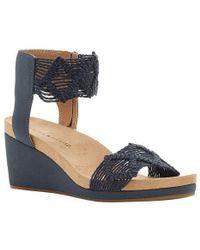 47f75471c63 Lyst - Lucky Brand Kierlo Macrame Wedge Sandals in Black