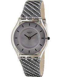 Swatch - Skin Sfm127 Leather Swiss Quartz Watch - Lyst