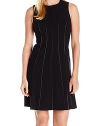 Calvin Klein - Petites Faux Leather A-line Wear To Work Dress - Lyst