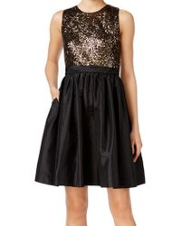 Calvin Klein | Black Size 12 Sequin Flare Sheath Dress | Lyst