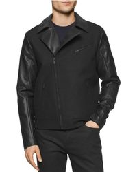 CALVIN KLEIN 205W39NYC - Faux Leather Motorcycle Jacket - Lyst