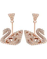 ba7298a6d Swarovski - Facet Swan Crystals Pave Earrings - Lyst