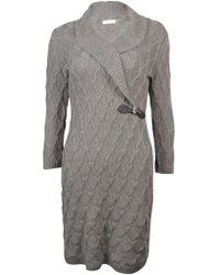 Calvin Klein - Shawl Knit Faux Buckle Sweater Dress - Lyst
