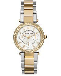Michael Kors | Mini Parker Mk6055 Gold/silver Analog Quartz Watch | Lyst