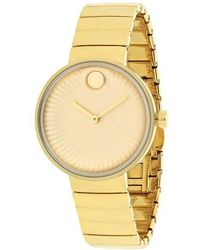 Movado - Edge Yellow -tone Stainless Steel Ladies Watch 3680014 - Lyst