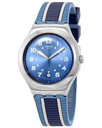 Lyst - Emporio Armani Leather Strap Watch in Blue for Men 91b03d7e06
