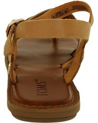 TOMS - Lexie Leather Metallic Sandal - 7m - Lyst