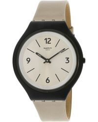 Swatch - Skinsand Svub101 Black Leather Swiss Quartz Fashion Watch - Lyst