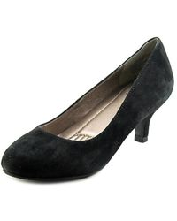 Easy Spirit - Reinie Kitten Women Round Toe Suede Black Heels - Lyst